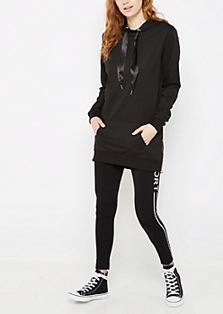 Black Ribbon Drawstring Tunic Hoodie