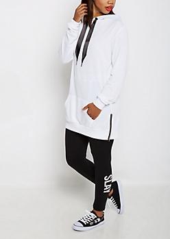 White Ribbon Drawstring Tunic Hoodie