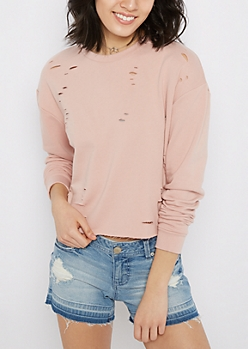 Pink Ripped & Crop Sweatshirt