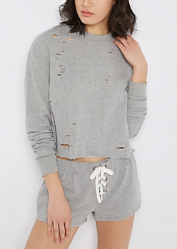 Heather Gray Ripped & Cropped Sweatshirt
