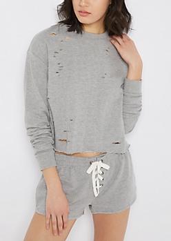 Heather Gray Ripped & Cropped Sweatshirt