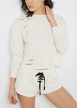 White Ripped & Crop Sweatshirt