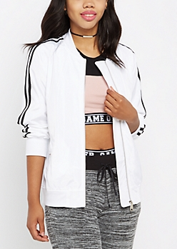White Striped Track Jacket
