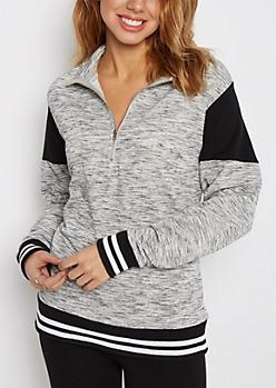 Black Color Blocked Quarter Zip Sweatshirt