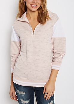 Pink Color Blocked Quarter Zip Sweatshirt
