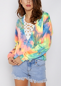 Rainbow Tie Dye Lace-Up Sweatshirt