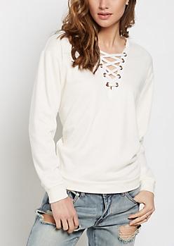 White Lace-Up Sweatshirt
