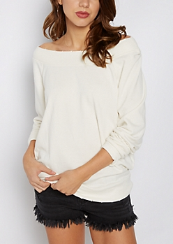 White Off-Shoulder Sweatshirt