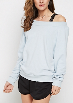 Sky Blue Off-Shoulder Sweatshirt