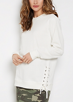 White Lace-Up Tunic Sweatshirt