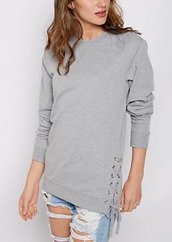 Heather Gray Lace-Up Tunic Sweatshirt