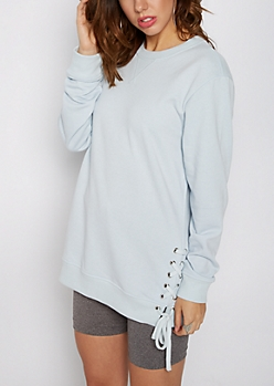 Light Blue Lace-Up Tunic Sweatshirt