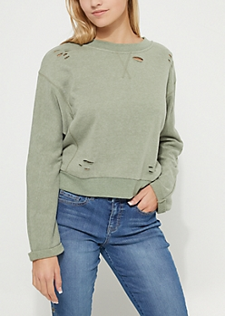 Olive Ripped Sweatshirt