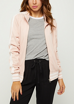 Pink Striped Track Jacket