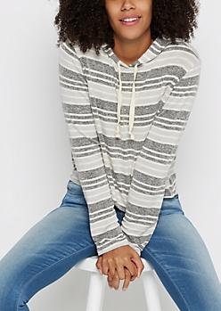 Marled Stripe Cropped Pullover Hoodie
