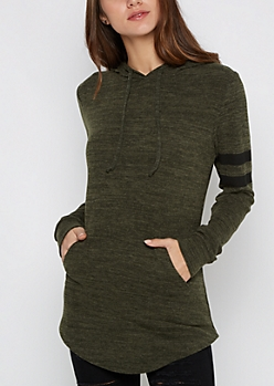 Olive Varsity Shirttail Hoodie