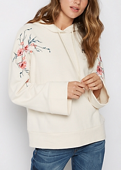 Floral Embroidered Bell Sleeve Hoodie