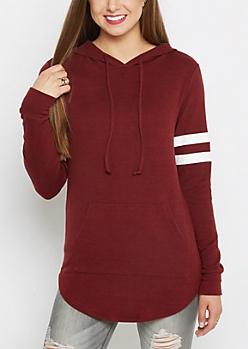 Burgundy Varsity Striped Tunic Hoodie