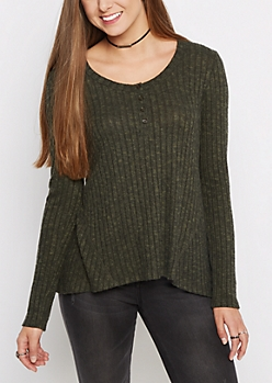 Olive Soft Ribbed Swing Henley Shirt