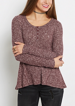 Plum Soft Ribbed Swing Henley Shirt