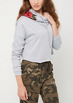 Heather Gray Rose Embroidered Crop Hoodie
