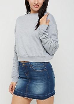Heather Gray Ruched Sleeve Sweatshirt
