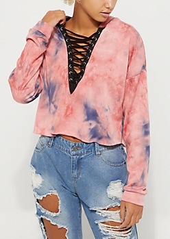Pink Tie Dye Crop Hooded Sweatshirt