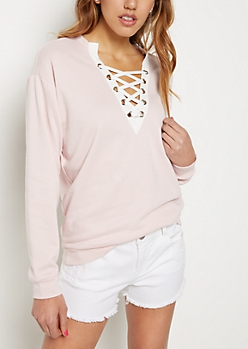 Pink Lace-Up Sweatshirt