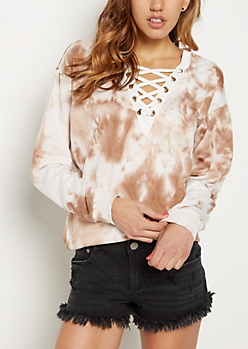 Tie Dye Lace-Up Sweatshirt