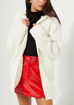 Cream Oversized Sherpa Zip Up Hoodie