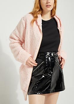 Pink Oversized Sherpa Zip Up Hoodie