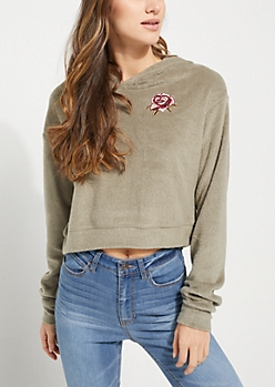 Light Olive Rose Embroidered Hacci Cropped Hoodie