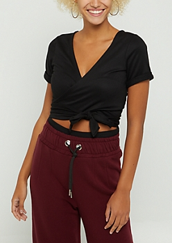 Black Front Wrap Tie Waist Top