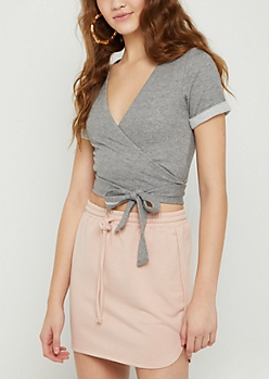 Heather Gray Wrap Tie Waist Top