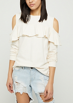 Ivory Ruffled Cold Shoulder Sweatshirt