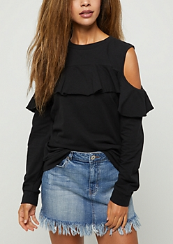 Black Ruffled Cold Shoulder Sweatshirt