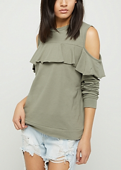 Olive Ruffled Cold Shoulder Sweatshirt