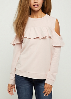 Pink Ruffled Cold Shoulder Sweatshirt