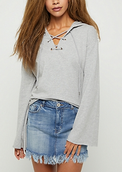 Heather Gray Lace Up Bell Sleeve Hoodie