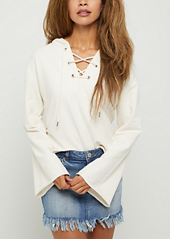 Ivory Lace Up Bell Sleeve Hoodie