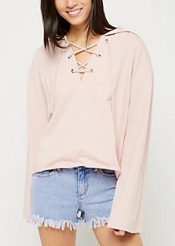 Pink Lace Up Drawstring Crop Hoodie