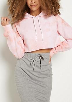 Pink Tie Dye Crop Hoodie