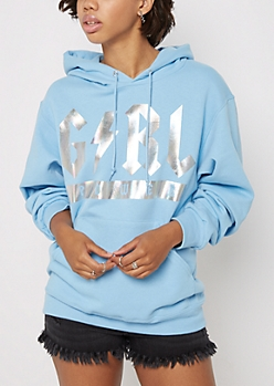 Girl Power Lightening Bolt Holographic Hoodie