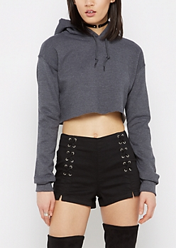 Charcoal Gray Raw Cropped Hoodie