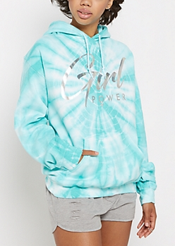 Girl Power Holographic Tie Dye Hoodie