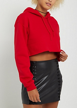 Red Fleece Crop Hoodie