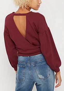 Burgundy Cutout Puffed Sleeve Sweatshirt