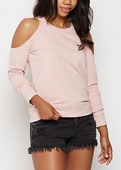 Pink Cold Shoulder Sweatshirt