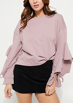 Pink Ruffled Sleeve Sweatshirt