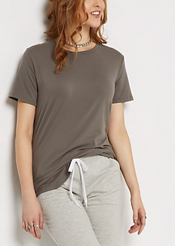 Charcoal Gray Soft Brushed Tunic Tee